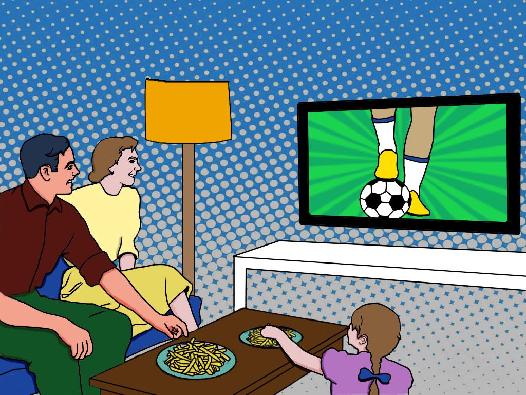 Um homem, sua mulher e filha assistem futebol na televisão da sala.